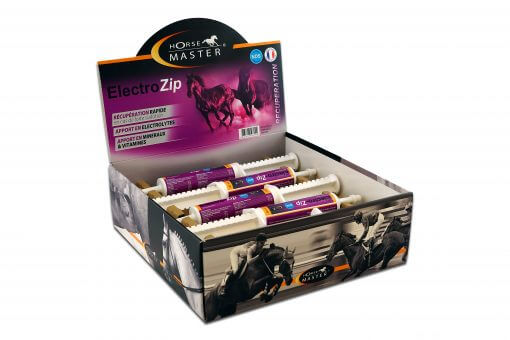 Kasse med Electro Zip, electrolyte og rehab pasta til heste